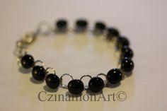 Black fused glass bracelet by CzinamonArt on Etsy, Glass Jewelry, Unique Jewelry, Fused Glass, Trending Outfits, Handmade Gifts, Bracelets, Etsy, Vintage, Black
