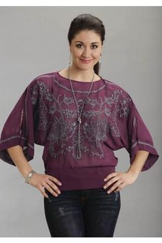 Loose Georgette Dolman Sleeve Top Stetson Ladies Collection- Fall Winter Ii Short Sleeve Urban