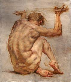 """Crouching Atlas"" - Robert Liberace, oil on canvas, 2014 {figurative art discreet nude male posterior back painting} robertliberace.com"