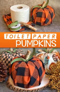 Easy Fall Craft Idea For The Home: Toilet Paper Pumpkins Looking for easy DIY fall projects? These toilet paper pumpkins are simple, fun and cheap to make! Even the kids can make this easy. Easy Fall Crafts, Easy Crafts To Make, Fall Diy, Thanksgiving Crafts, Diy Crafts For Kids, Home Craft Ideas, Fall Pumpkin Crafts, Kids Diy, Spring Crafts