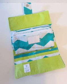 Teal Chevron Budgeting Wallet with Money Envelopes with Teal Chevron and Lime Green  Inside Made to Order on Etsy, $29.00