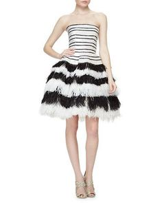 OSCAR DE LA RENTA Striped Sequined Feather-Tiered Fit-And-Flare Dress, Black/White. #oscardelarenta #cloth #