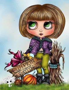 Fall Bestie Girl Pumpkin Patch digi stamp instant download Halloween Drawings, Halloween Face, Homemade Face Paints, Pumpkin Costume, Handmade Card Making, One Stroke Painting, Black And White Lines, Face Painting Designs, Holly Hobbie