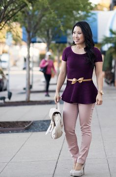 cute & little blog | purple peplum, gold bow belt, pink pants outfit #ootd by kileencheng, via Flickr
