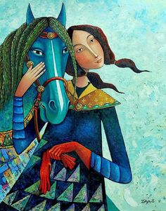 Painting by Mongolian artist Zaya (Zayasaikhan Sambuu)