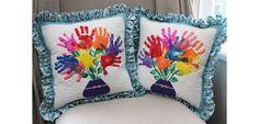 Ta Dah!: Handprints quilted pillows for teachers