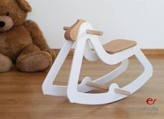 Design Rocking Horse Modern Wooden Toy for Kids Boys Girls Eco Friendly Toy White Hello Wood, Pull Along Toys, Eco Friendly Toys, Deco Design, Wood Toys, Diy Toys, Toys For Girls, Kids Furniture, Wood Crafts