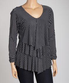Black & White Polka Dot Tiered V-Neck Top by GLAM #zulily $24.99