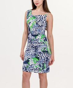 Look what I found on #zulily! Blue & Green Abstract Drape Neck Dress by Biacci #zulilyfinds