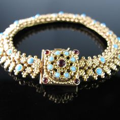 Antique French Bracelet – Gold with Turquoise and Garnet Antique Engagement Rings, Diamond Engagement Rings, Antique Bracelets, Beaded Bracelets, Rare Antique, Unique Vintage, French Antiques, Diamond Rings, Jewelery