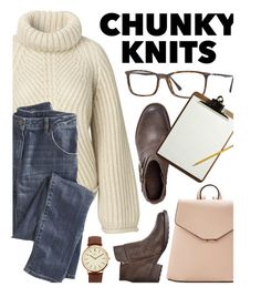 """""""Chunky Knits"""" by smartbuyglasses ❤ liked on Polyvore featuring Ray-Ban, MANGO, Wrap, BKE, brown, beige and chunkyknits"""