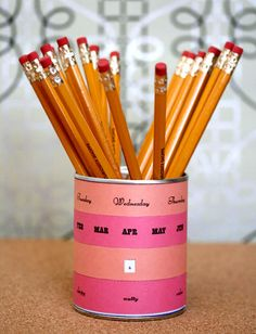 44. Perpetual Calendar and Pencil Holder | From Drab To Fab: 48 DIYs For Average Tin Cans