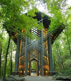 Located deep in the heart of the Ozark Mountains, the wood and glass Thorncrown Chapel was inspired by the gothic Sainte Chappelle in Paris.  (Whit Slemmons)