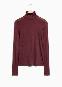 & Other Stories image 1 of Basic Wool Turtleneck  in Dark Red
