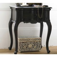 Sy Boo Black Bedside Table Cabinets French Tables Contemporary Side