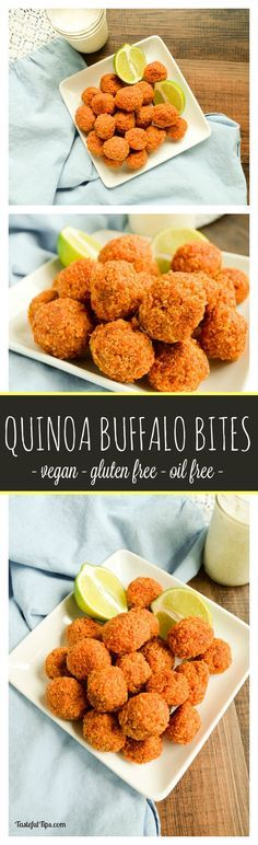 Baked Quinoa Buffalo Bites are super easy to make but you wouldnt know it when you take your first bite! Gluten free, egg free, oil free, and super tasty!