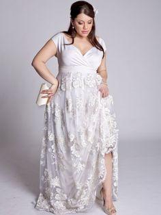 Ostentatious Wrap Plus Size White Floor-Length Short Sleeve Mermaid/Trumpet Lace wedding dresses -weddressale.com