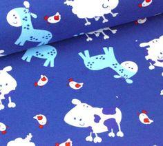 Jersey - Bauernhof Tiere - Blau - 160cm