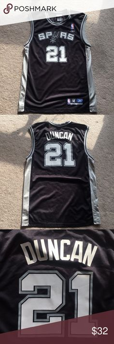 Tim Duncan Jersey Black and grey. Worn but in great shape! Reebok Shirts  Reebok e9fa91fd2