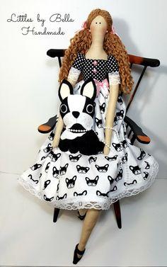 Textile doll French Bulldog doll tilda bulldog by littlesbyBella