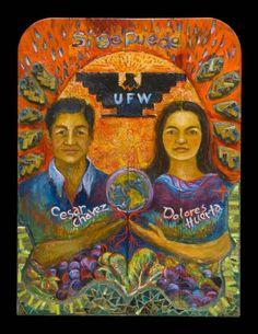 Cesar Chavez, Dolores Huerta Retablo by Cristina Acosta