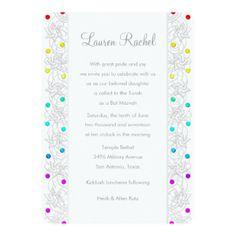 Bat Mitzvah Pearls and Lace Rainbow 5x7 Paper Invitation Card