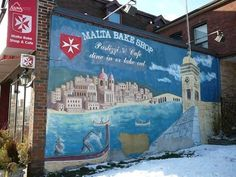 A little bit of Malta in snowy Canada! The Malta Bake Shop in Toronto features a mural of Malta's famous landmarks on its wall