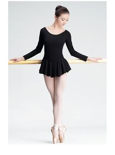 Leotard with skirt, long sleeve