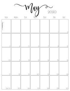 Elegant Vertical May 2020 Monthly Calendar {Free Printables} Big Calendar, Print Calendar, Calendar Design, To Do Lists Printable, Printable Paper, Free Printables, Free Calendar Template, Printable Calendar 2020, Graphic Design Magazine