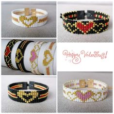 Gifts from Seed Beads by VatArt Diy Jewelry Rings, Bead Jewellery, Heart Jewelry, Beaded Jewelry, Jewelry Making, Loom Bracelet Patterns, Bead Loom Bracelets, Beading Patterns, Bracelet Tutorial
