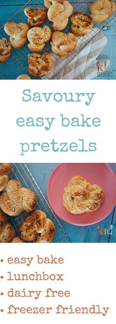 Savoury easy bake pretzels, easy to bake, perfect in the lunchbox or even as afternoon tea.  Eat them straight, or spread with your favourite spread.  Freezer friendly, kid friendly and the perfect way to try baking bread. via @kidgredients