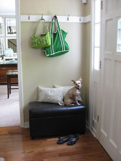 I have this leather bench. I think I'll add some hooks above for out entry way in the new house. It can even double as seating in the living room, since that's where the entry way is. Corner Bench With Storage, Renters Solutions, Young House Love, Vinyl Wall Art, Wall Decal, Decoration, Home Projects, Living Room Designs, Small Spaces