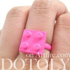 Adjustable Lego Brick Ring in Bright Bubblegum Pink    have to get this for my daughter