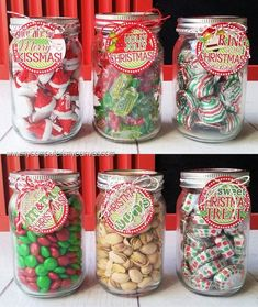 Mason Jar Christmas Gifts, Cheap Christmas Gifts, Mason Jar Gifts, Teacher Christmas Gifts, Christmas Gifts For Neighbors, Mason Jar Candy, Christmas Holidays, Easy Homemade Christmas Gifts, Baked Goods For Christmas Gifts