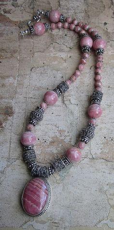 Rhodochrosite Bali Necklace genuine natural by JKDKdesigns