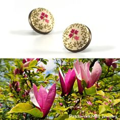 Stud Earrings, Tulip Tree, Pink Red Beige Flowers Earrings, Shabby Romantic Chic Fabric Buttons Jewelry, Antique Posts, Floral Vintage Stud