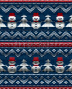 Winter Holiday Seamless Knitted Pattern With Snowman And Christmas. - Winter Holiday Seamless Knitted Pattern With Snowman And Christmas. Fair Isle Knitting Patterns, Knitting Charts, Knitting Stitches, Knitting Designs, Free Knitting, Christmas Border, Christmas Cross, Christmas Tree, Knitted Christmas Stockings
