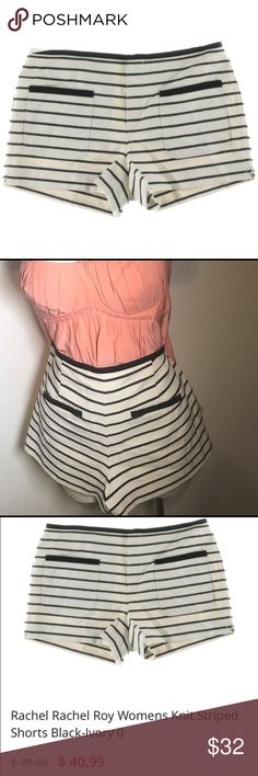 Rachel Roy Classic Spring B&W Knit Striped Shorts Get spring ready! These B&W knit shirts are casual and cool. NWT, they've never been worn. Awesome to wear high-waisted. RACHEL Rachel Roy Shorts