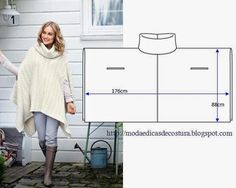 Sew or crochet/knit a sweater poncho. Could also piece together with upcycle. Diy Clothing, Sewing Clothes, Clothing Patterns, Sewing Hacks, Sewing Tutorials, Sewing Crafts, Sewing Tips, Loom Knitting, Knitting Patterns