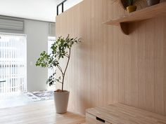 This small modern apartment in Yokohama, Japan designed by Sinato uses a multifunctional central wooden unit to serve as a partition wall between the living area and the sleeping area. Tokyo Apartment, Japanese Apartment, Urban Apartment, Apartment Renovation, Modern Japanese Interior, Modern Interior Design, Interior Styling, Interior Architecture, Tokyo Architecture