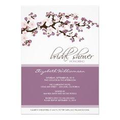 Cherry Blossom Bridal Shower Invitation (lilac)