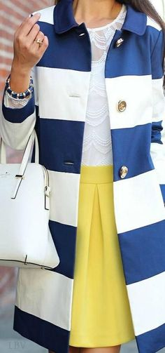 Navy white and yellow white structured purse white lace blouse peacoat Kate Spade inspired style purse
