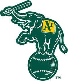 Oakland Athletics Alternate Logo (1988) - Elephant holding a bat, standing on a baseball in forest green