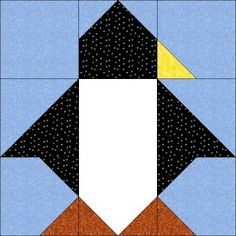 Image Detail for - Sew Awesome: Penguin Block (Fabric Postcard)