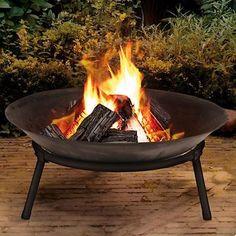 Cast Iron Fire Bowl Firepit Garden Outdoor Modern Stylish Fire Pit Ambience