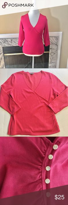 Ann Taylor wrap knit hot pink top Side gathered with mother of pearl buttons. Slight discolorations on right chest area as shown in photo. Colors may vary slightly to lighting and photos. No holes or rips. Measurements approximately as shown. ❌Smoke and pet free home. ⚡️Same/next day shipping. 💲Save by bundling or make a reasonable offer through the offer button. 🚫No trades or modeling. 📦Wrapped and shipped with care. 🎁Includes free gift. Ann Taylor Tops