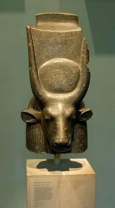 Head of a Cow Goddess (Hathor or Mehetweret)  Date: ca. 1390–1352 B.C.  Accession Number: 19.2.5