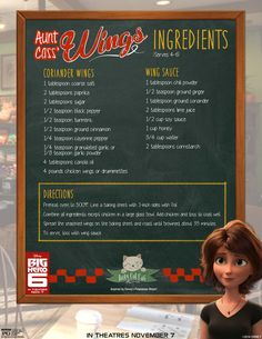 Big Hero 6 Aunt Cass' Wings recipe to enjoy with a fun Baymax party to celebrate the movie opening Friday November 2014 in theaters everywhere. Disney Desserts, Disney Dishes, Disney Recipes, Big Hero 6, Disney Themed Food, Disney Inspired Food, Dinner And A Movie, Family Movie Night, Family Movies