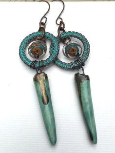 Porcelain dangle earrings with lampwork