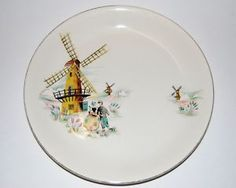 50s ALFRED MEAKIN 'Old Dutch Mill' windmill retro dinner dining plate by stark!vintage